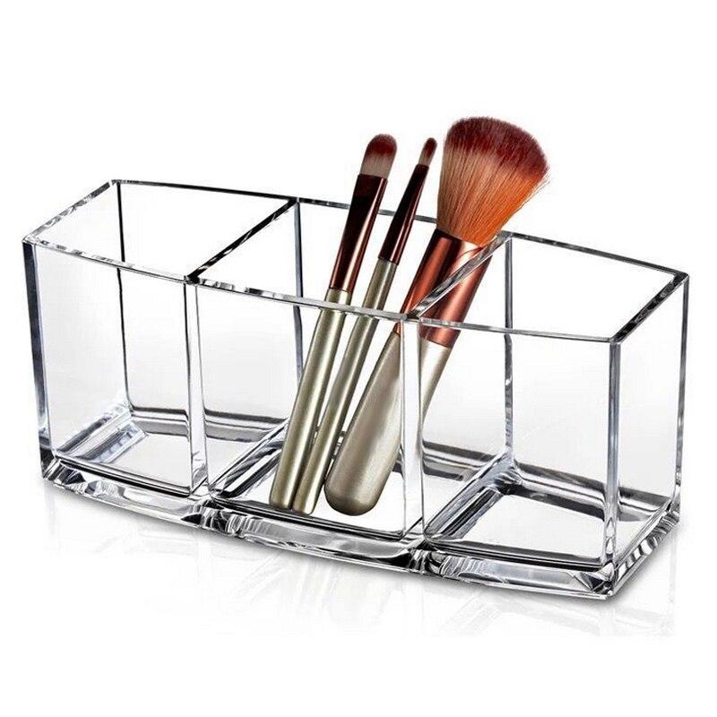 Ev ve Bahçe'ten Makyaj Organizatörleri'de Akrilik makyaj organizatör kozmetik tutucu makyaj araçları saklama kutusu fırça ve aksesuar organizatör kutusu şeffaf title=
