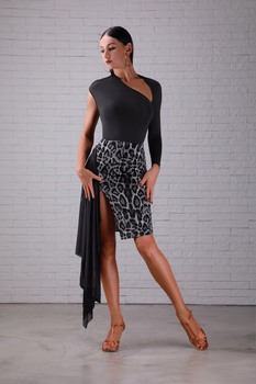 Fashion Latin Dance Skirt Women Leopard Cha Cha Samba Rumba Practice Wear Ballroom Outfit Tango Salsa Training Clothes PY186