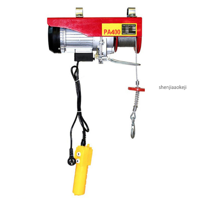 1PC PA400 Small Electric Crane PA400 Mini Portable Hoist Crane 12/20/30m Steel Wire Windlass Small Home Crane Renovation Crane