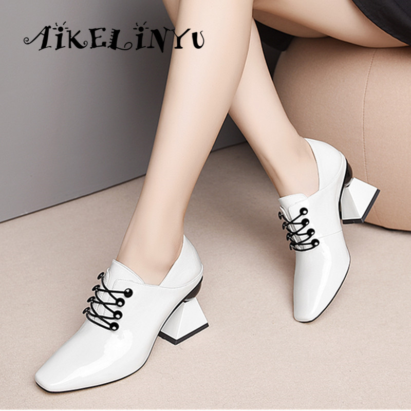 AIKELINYU Spring Fashion Cowhide Shoes Women High Heel Shoes Pumps Women Strange Shoes Ladies Square Toe Cross Tied Shoes Black