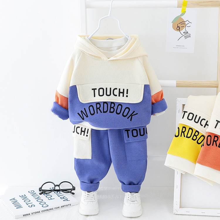 Baby Boy Clothes Cotton Thick Warm Two-piece Baby Clothes Fashion Cartoon Alphabet Printing Casual Sports Hooded Sweater Suit