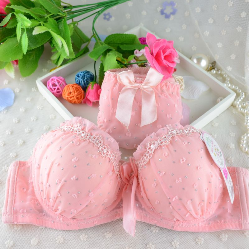 Women Lace Bowknot Push Up   Bras     Sets   Dot Print Padded   Bras   Underwire Brassiere Bow Underwear Panties NS