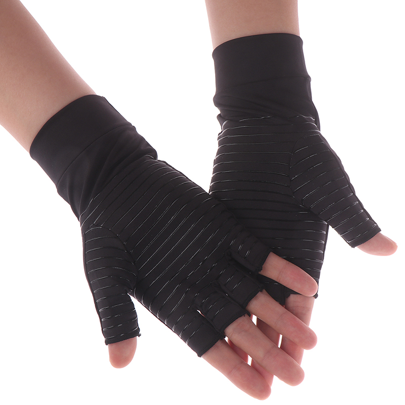 1 Pair Unisex Women Men Half/Full Finger Copper Fiber Therapy Compression Gloves Hand Arthritis Joint Pain Relief Therapy Gloves