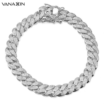 VANAXIN Men Bracelet Hiphop Silver Color Cuban Chain Paved Shiny Cubic Zirconia Stone Fashion Party Jewelry Christmas Gift Box