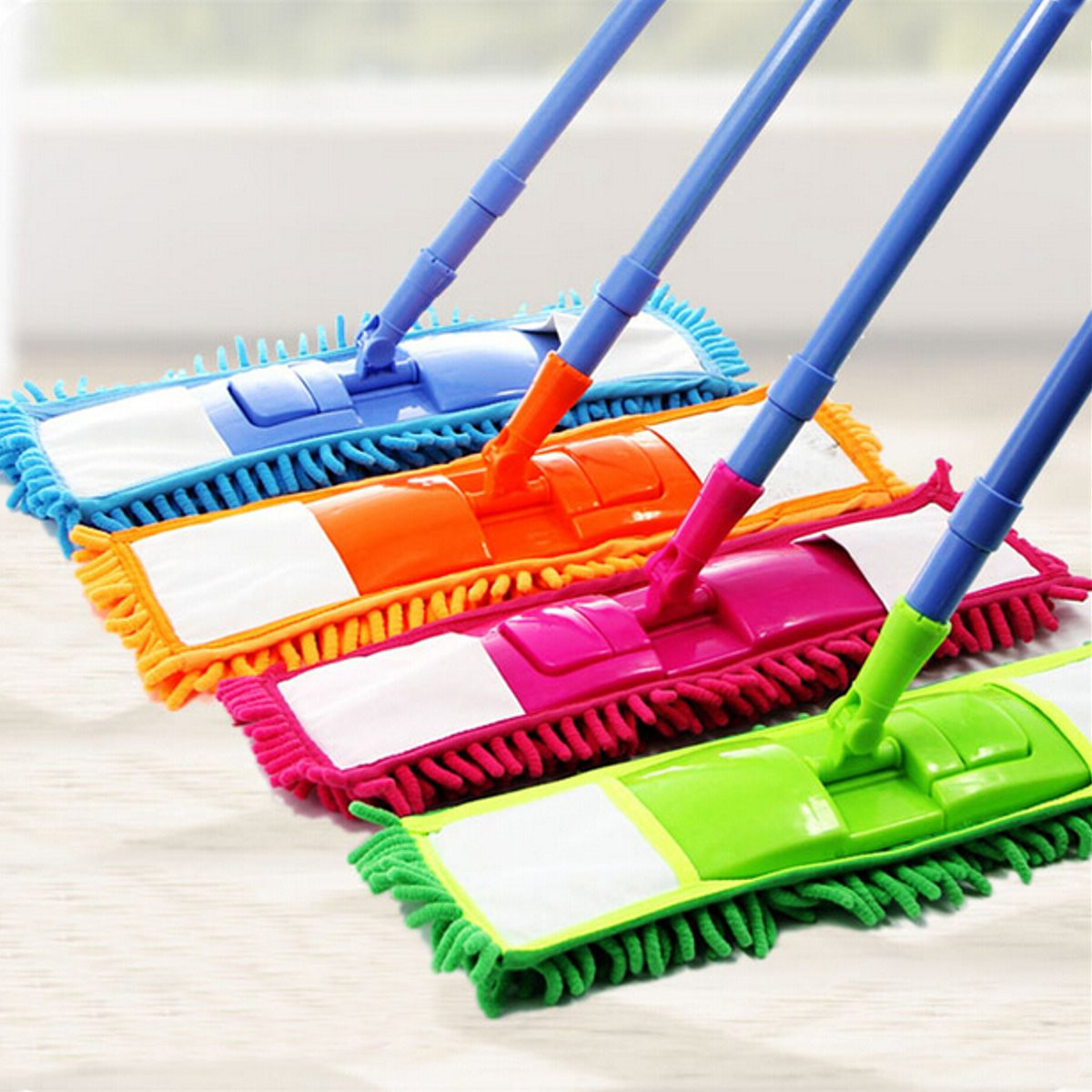 Soft Bristle Rubber Broom Sweeper Dry and Wet Cleaning Sweeper With Telescopic Handle Extendable Microfibre Floor Mop