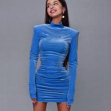 Женское облегающее однотонное бархатное мини платье с длинным