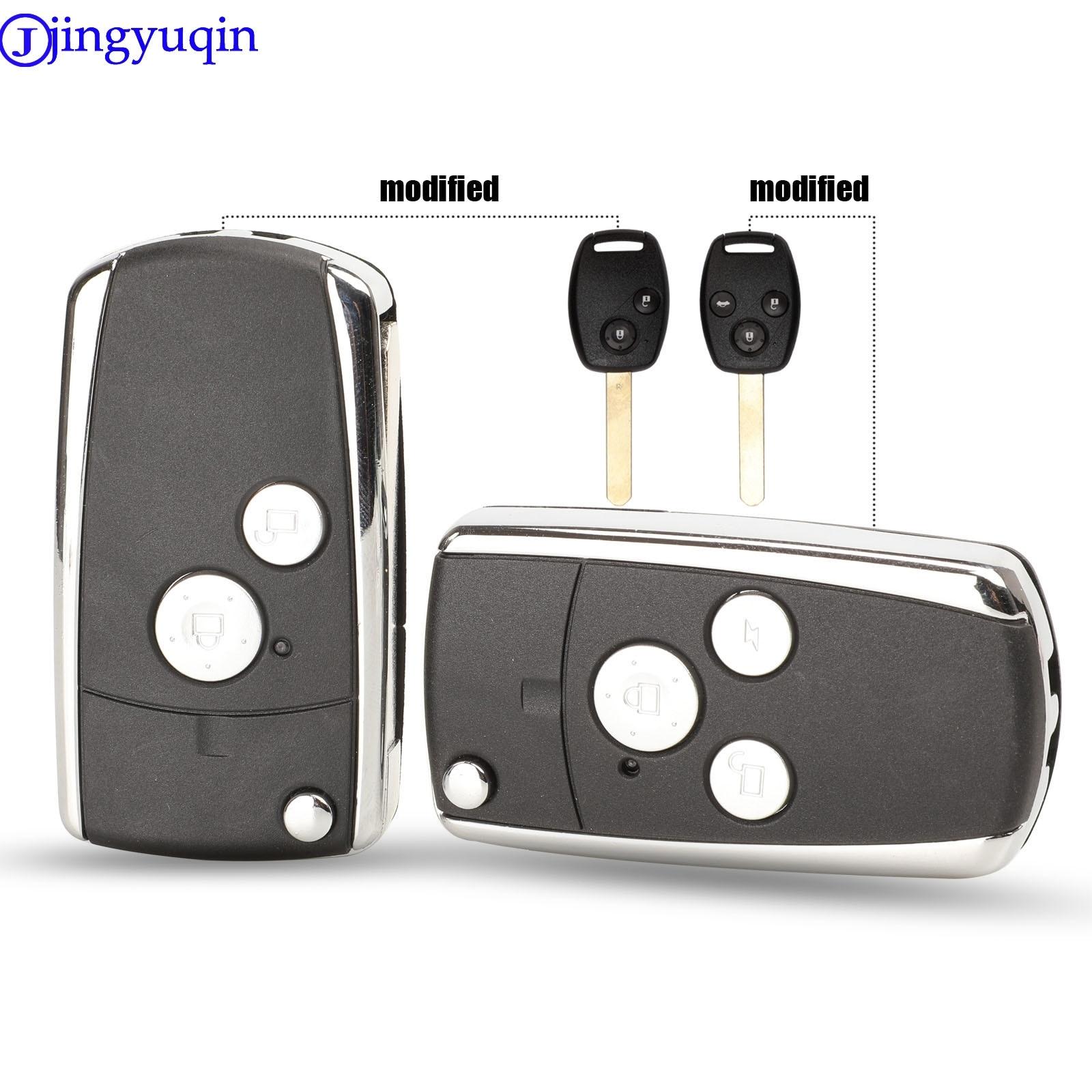 Jingyuqin 2/3 botões novo estilo flip dobrável caso chave escudo keyless fob capa para honda accord crv civic odyssey piloto
