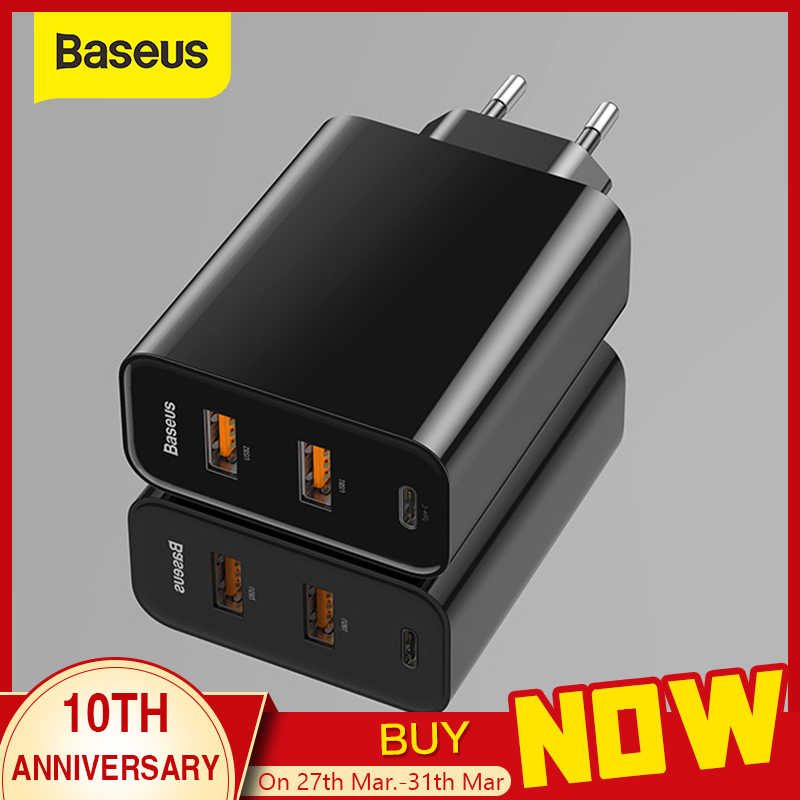 BASEUS 3 พอร์ต USB Fast Charger 60W สนับสนุน Type-C PD Fast QC 4.0 3.0 โทรศัพท์ quick Charge 3.0 USB C PD Charger