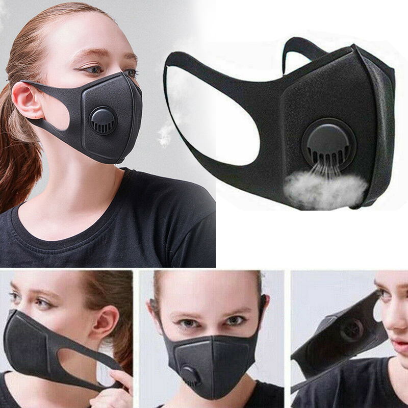 1*Washable Face Cover Mouth Muffle Anti Dust W/ Breather Valve Reusable Breathable Protection Covers PM2.5