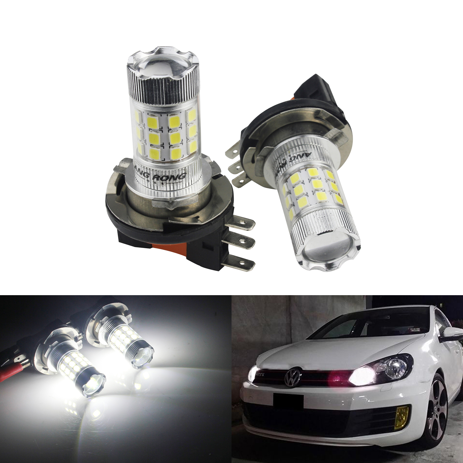 ANGRONG 2x 30W 1600lm H15 64176 LED Headlight <font><b>Daytime</b></font> <font><b>Running</b></font> <font><b>Light</b></font> <font><b>Bulb</b></font> For Audi <font><b>BMW</b></font> VW Ford Fiesta image