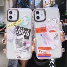 Cute Ins Label Barcode Status of David simple transparent silicone phone cover case