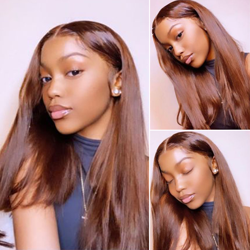 Brown Color Human Hair Wigs 13x4 Lace Front Wig Pre Plucked Straight Brazilian T Part Lace Wig Bleached Knots Closure Wig 180%