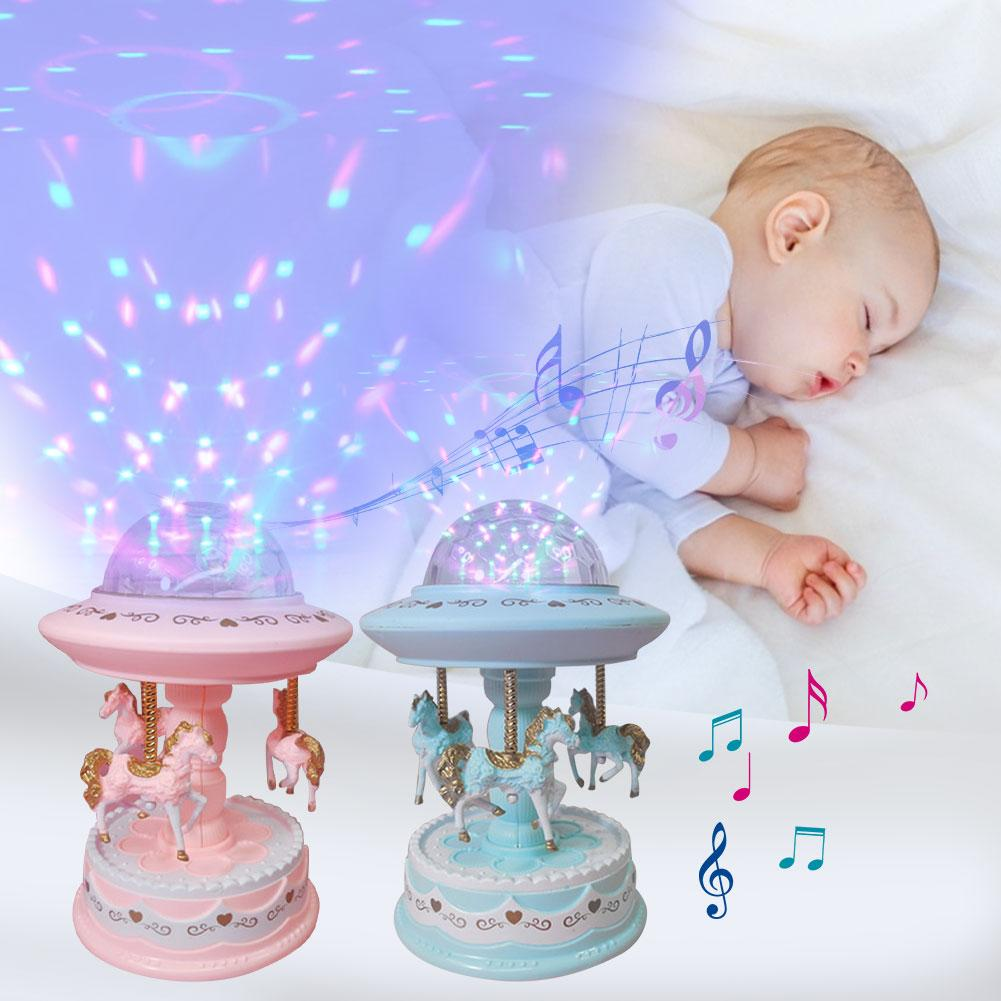Baby Luminous Toys Night Sleep Light Carousel Music Player Projector Lamp Baby Kids LED Sleep Appease Lights Gifts