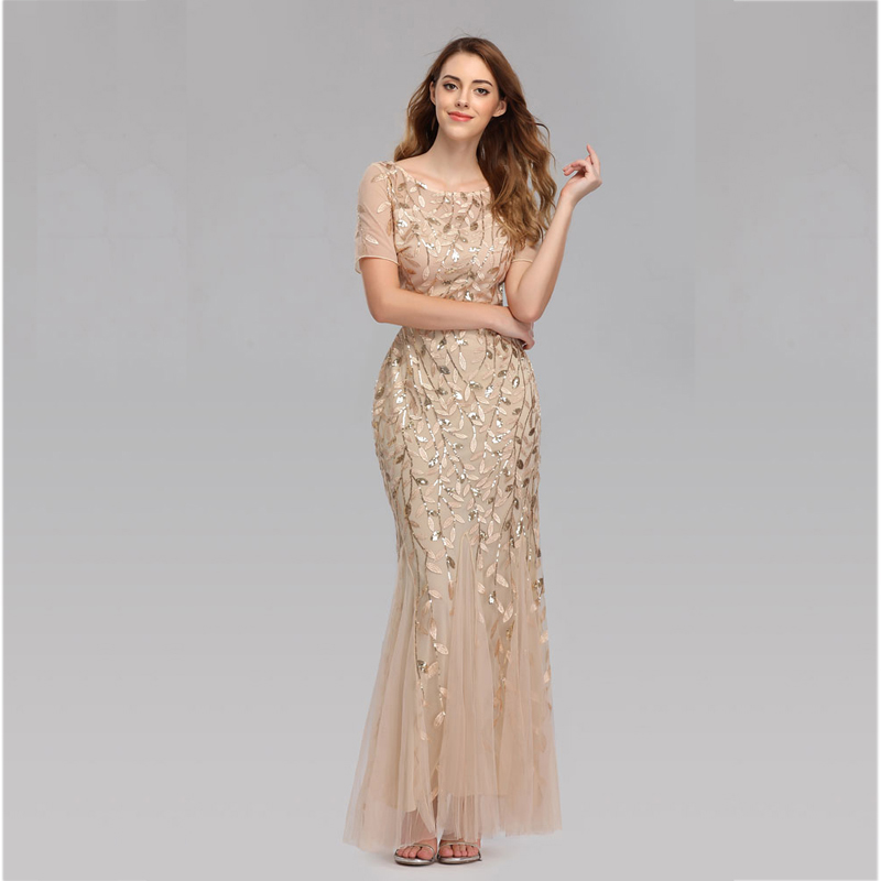 Beauty Emily O Neck Tulle Appliques Evening Dresses Long 2019 Short Sleeve Tiered Hems Prom Gowns Pleated Vestido De Noche