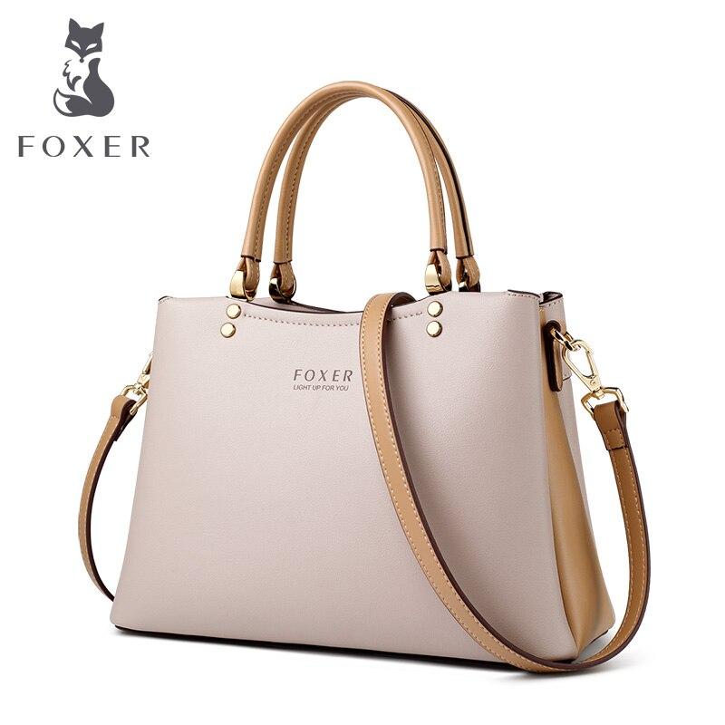 FOXER элегантная осенне зимняя сумка из воловьей кожи, женская сумка, простая сумка тоут, Женская вместительная сумочка, брендовая сумка мессе