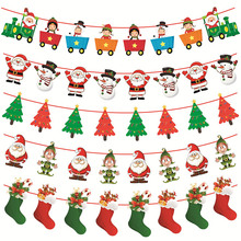 3m Christmas Decoration Banner Santa Clause Deer Paper Flag Party Garland Decor Bunting for Merry Home