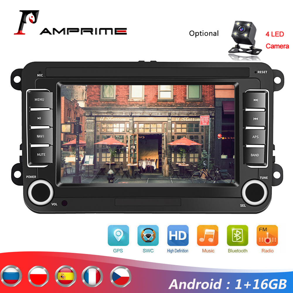 AMPrime Android 7'' 2Din GPS Car MP5 Multimedia Video Player Car Radio Auto Radio Stereo Audio For VW/Skoda/Passat/Golf/Poloc image