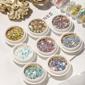 1 Box Nail Art Mixing Glitter Flakes 3D Hexagon Colorful Crystal Spangles Gradient Glitter Polish Manicure Nails Art Decorations