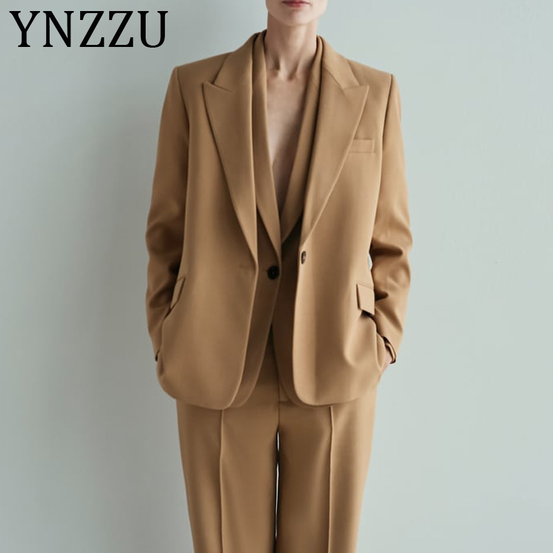 YNZZU 2019 Autumn Elegant Women Blazer Long Sleeve Single Button Loose Camel Female Jacket Ladies Suits Sets A1087