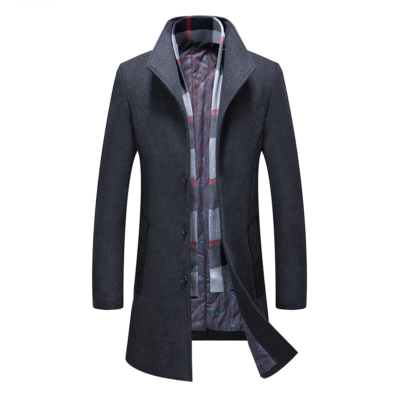 Wool Coat Men, Wool Coat Men,Men's Wool Coat,Fashion Scarf Coat,Padded Coat with Cotton,Wool Coat,Winter Men's Clothing,Coat Men