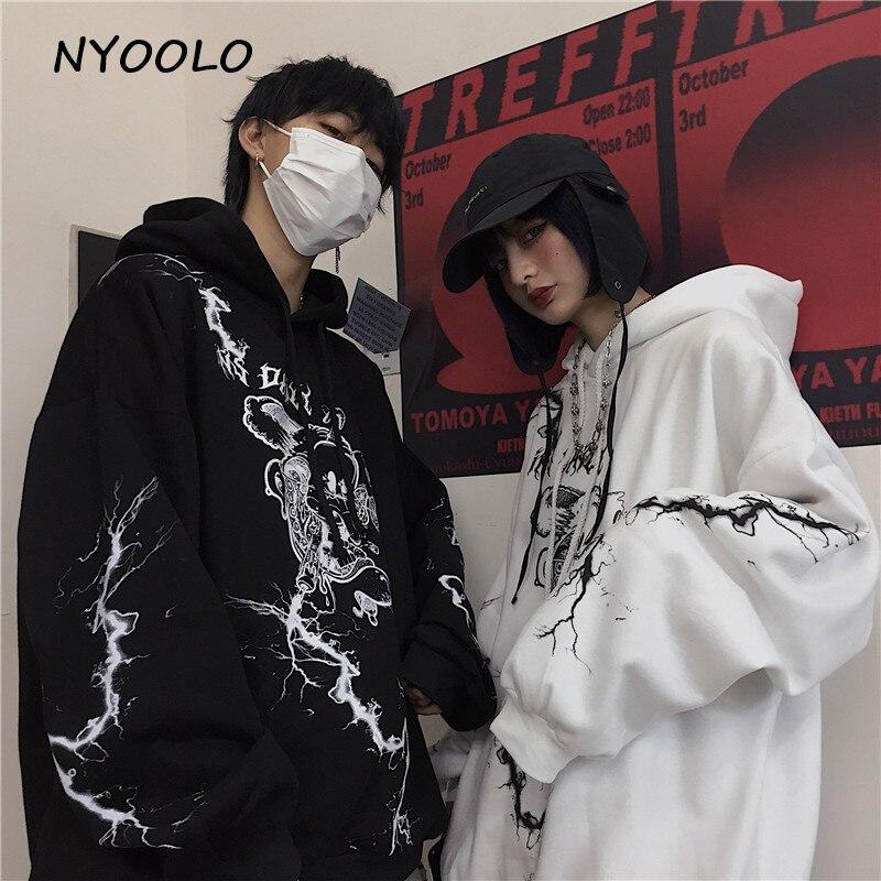 NYOOLO Autumn Winter Streetwear Lightning Cartoon Letters Print Warm Hoodies Casual Hooded Pullovers Fleece Sweatshirt Women Men