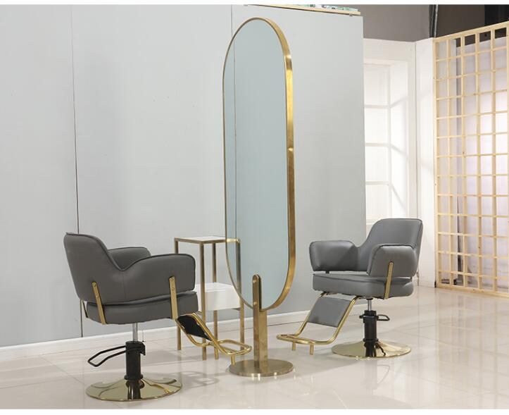 Net Red Hairdresser Mirror Table Hair Salon Dedicated Light Luxury Wind Hairdressing Mirror Rose Gold Haircut Mirror Hot Dyed Mi