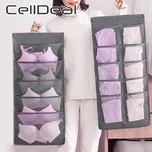 Duplo-face pendurado saco de armazenamento de roupas dobrável saco claro meias sutiã roupa interior rack cabide sacos de armazenamento organizador para guarda-roupa