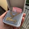 Именное ожерелье Cursive ручной работы, персонализированная цепь из нержавеющей стали с бусинами на заказ, ожерелье с табличкой, подарки подру...