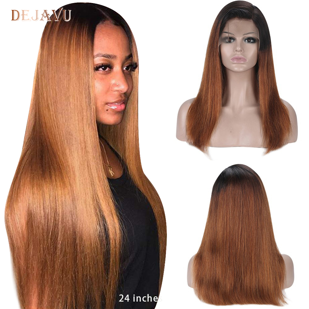 Dejavu Ombre Straight Hair Lace Front Human Hair Wig Brown Remy 13*4 Lace Front Wigs For Women 130% 150% 2 Tone Lace Front Wigs