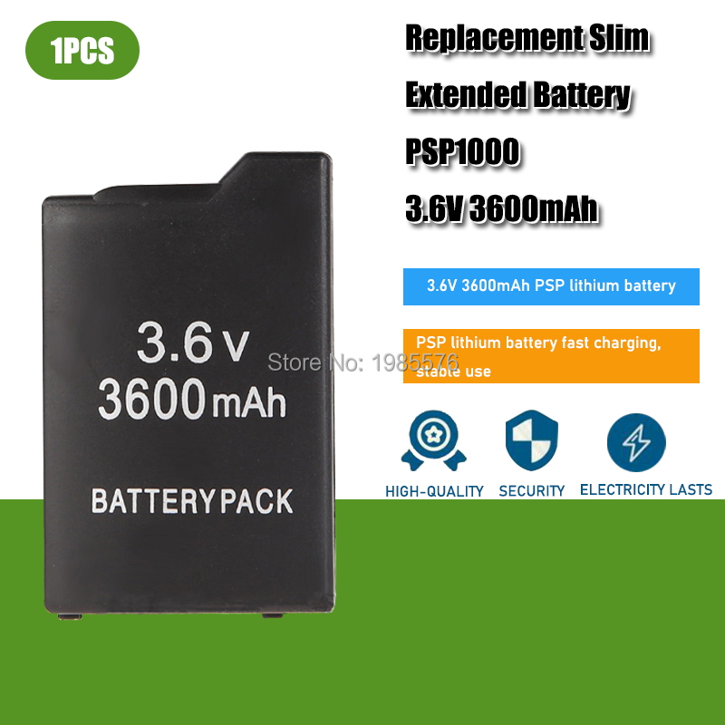 1PCS PSP1000 Battery Pack For Sony PSP-110 PSP 1000 Console Gamepad Real capacity 3600mAh 3.6V Rechargeable batteries 1