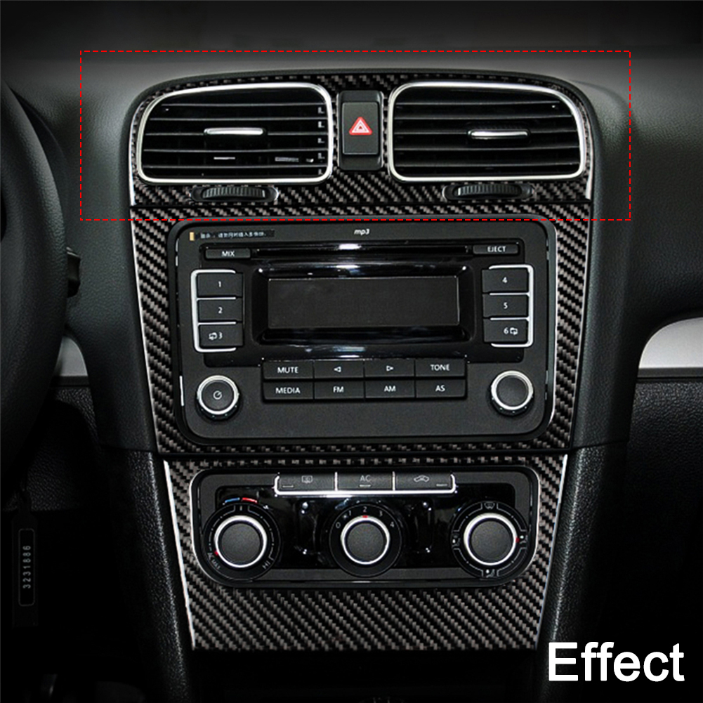 For VW Golf 6 2008-2012 gti R MK6 Scirocco Interior Styling Carbon Fiber CD Panel Air Vent Outlet Stickers Trim Car Accessories image