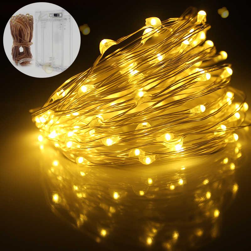 1/2/5/10M 10-100 diody led boże narodzenie wieniec drut miedziany wąż ledowy bajki światła do użytku wewnątrz pomieszczeń nowy rok Xmas dekoracje ślubne
