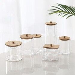Maquiagem Caixa De Armazenamento Organizador Cosmetices MSJO Almofadas de Algodão Cotonete Cobertura De Bambu para As Mulheres Em Casa Banheiro Organizador Maquiagem Caixas Bin