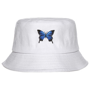 Summer Butterfly Bucket Hat Women Men Cotton Fashion Sad Boy Cap Girls Double-Sided embroidery Floral Panama Hat
