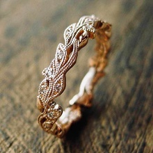 Vintage Rose Gold Color Flower Vine Eternal Band Women Cubic Zircon Wedding Ring Set Anniversary Jewelry blucome brand design rose gold color square cubic zircon ceramic earrings ring set chinese porcelain women wedding jewelry sets