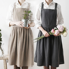 Fashion Washed Cotton Aprons Unisex Simple Kitchen Cooking Apron Coffee House Flower Shop Sleeveless Antifouling Work Pinafore недорого