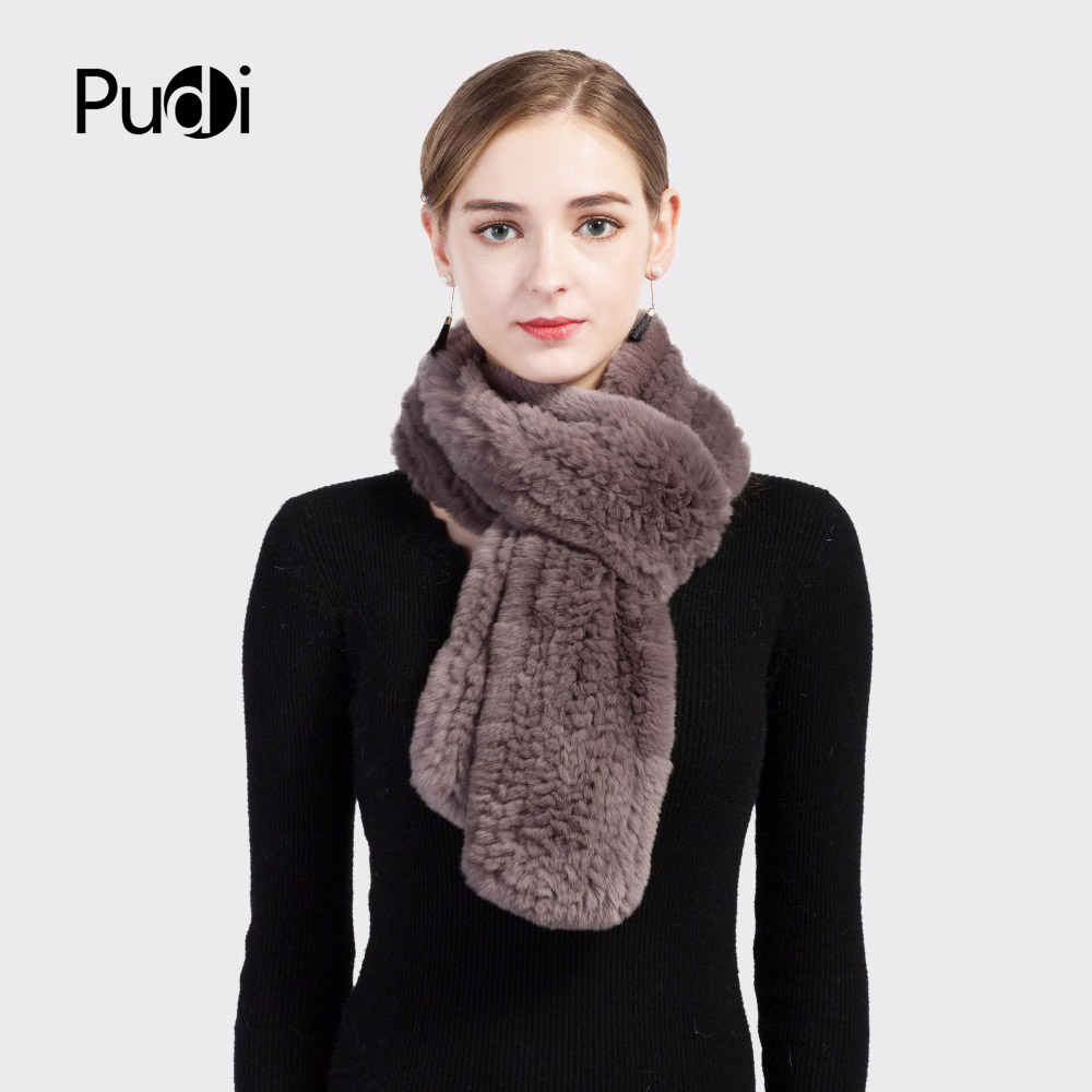 New Winter Lady Real Fox Fur Knitted Long Scarf Soft Shawls Mufflers Top Quality