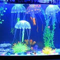 1 stücke Aquarium Aquarium Landschaftsbau Künstliche Glowing-effekt LED Licht Decor Glow Quallen Korallen Aquatische Landschaft Ornament