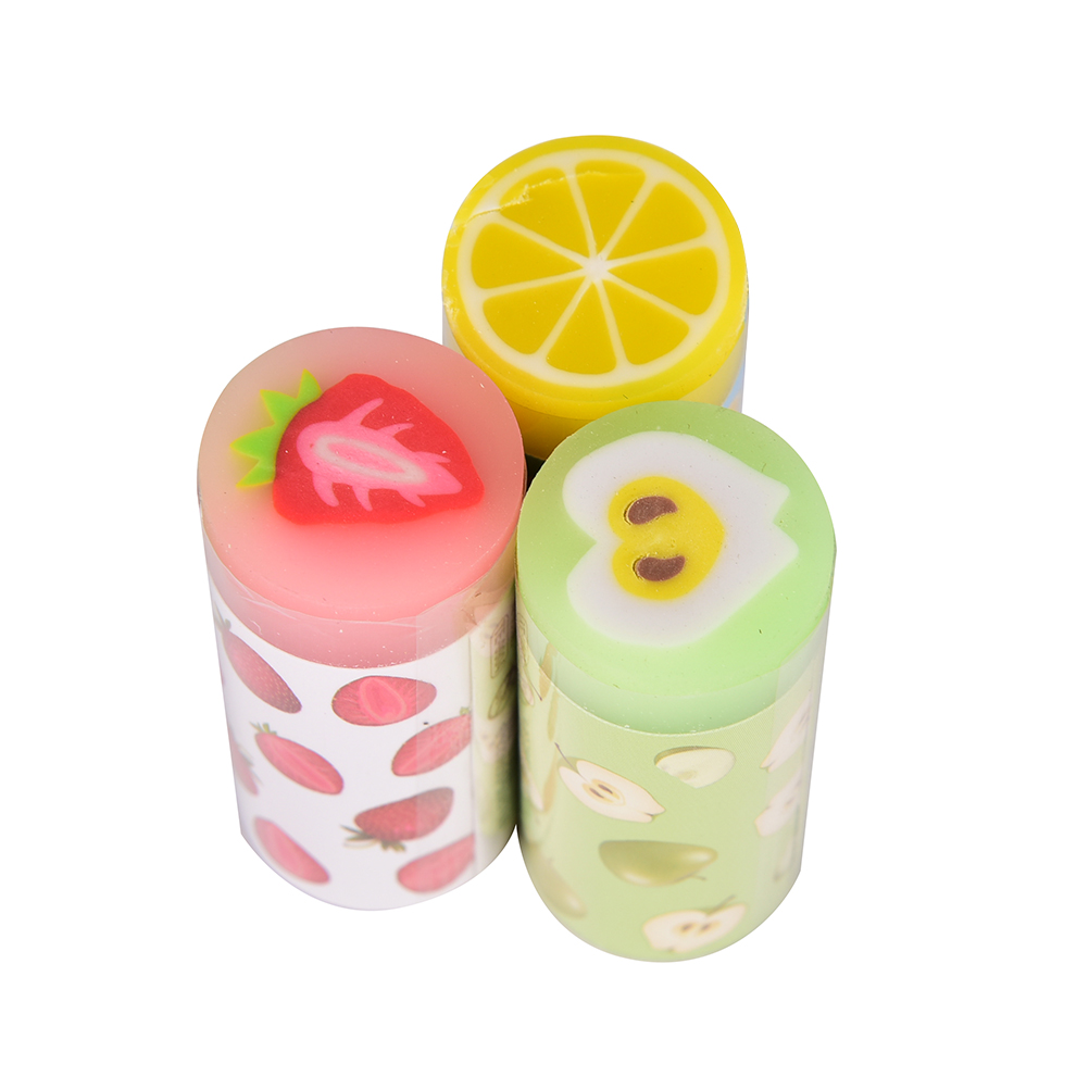 3pcs Cute Erasers Fruit Strawberry Lemon Rubbers Pencil Erasers For Kids Girls Gift Back To School Supplies Novelty Stationery