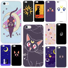 Soft TPU Silicone Phone Cases for iphone 4 4s 5c 5s 5 SE 6 6s 7 8 plus X XR XS Max Shell Sailor Moon White Black Cat(China)