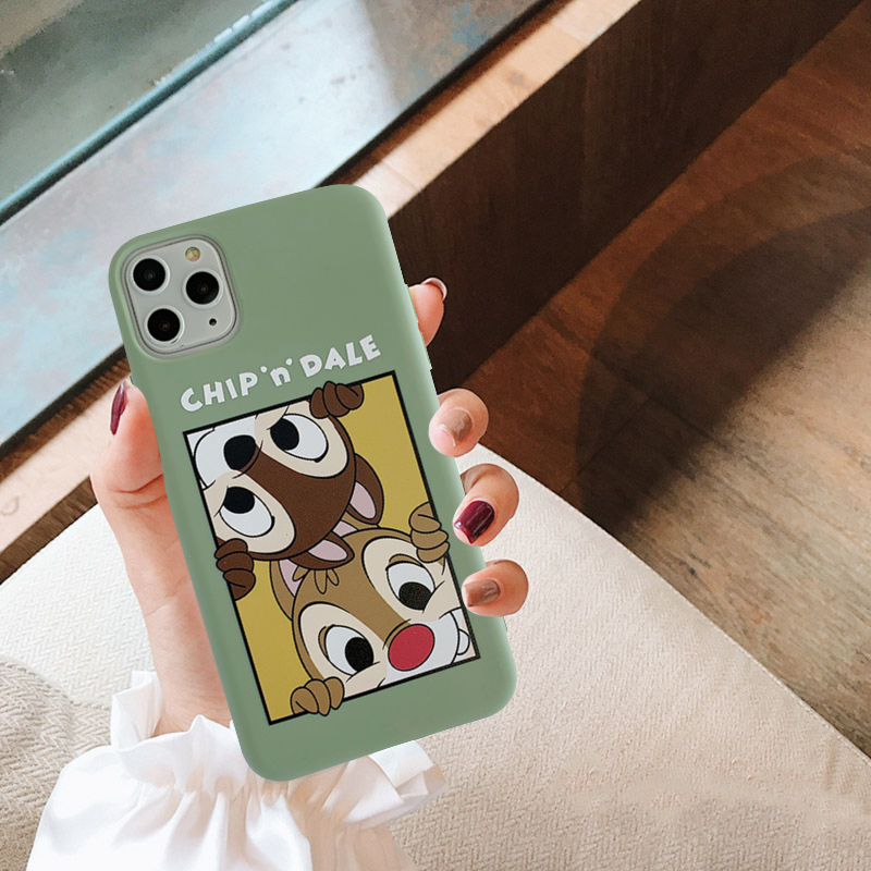 Gykz Cartoon Squirrel Chip Dale Best Friend Case For Iphone Xs Max X 11 Pro Xr 7 8 6 6s Plus Soft Matte Green Phone Cover Fundas Leather Bag