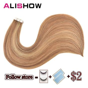Alishow Tape In Remy Human Hair Extensions Double Drawn Hair Straight Invisible Skin Weft PU Tape On Hair Extensions k s wigs 80pcs pack remy human hair double drawn straight luxury skin weft tape on hair extensions
