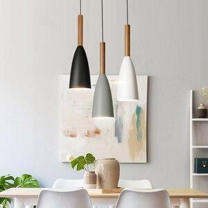 Image 1 - מינימליסטי מודרני עץ תליון מנורות בר מסעדה Hanglamp דקור E27 נורדי תליון אורות אמנות אופנה תליית מנורה