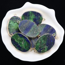 2pcs/lot 25*35mm Natural Stone Charms Pendant Phoenix green gold gilded Oval Earrings Pendant For DIY Jewelry Accessories(China)