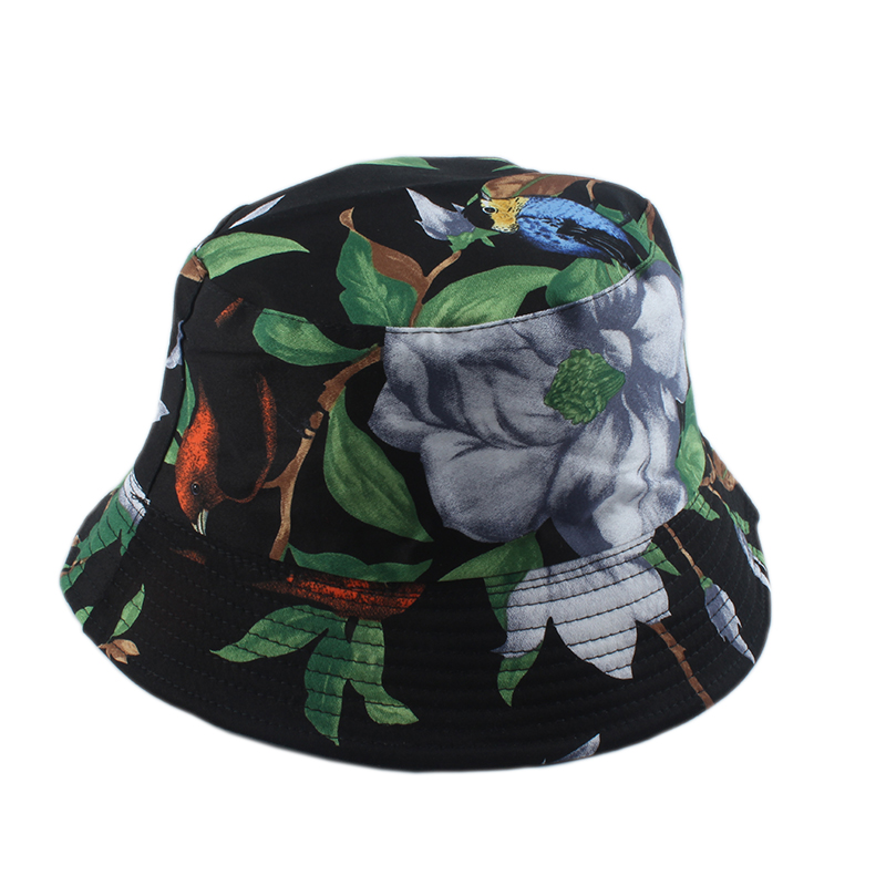 Women Men Panama Bucket Hat Love Nature Birds Tree Print Bucket Cap Hip Hop Street Bob Hat Reversible Fisherman Hat