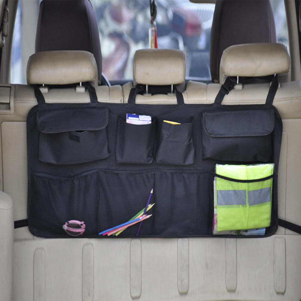 Car Rear Seat Back Storage Bag Multi Hanging Nets Pocket Trunk Bag Organizer Auto Stowing Tidying Interior Accessories Supplies 3