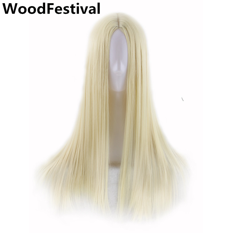WoodFestival 9 Colors Women Long Straight Cosplay Wigs Blue Red Burgundy Silver Brown Black Blonde Heat Resistant Synthetic Wig