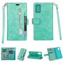 Роскошный кошелек на молнии, кожаный флип чехол для Samsung Galaxy A51, A71, A81, A91, A10, A20, A30, A50, A70, S20 Plus, чехол с несколькими отделениями для карт и подставкой