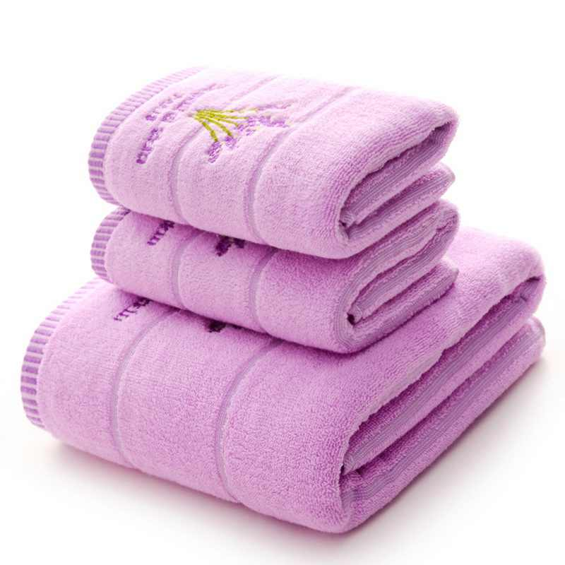 Toalla de lavanda bordada toallas cara algodón Toalla de baño para adultos toallas de alta absorción 1 pieza