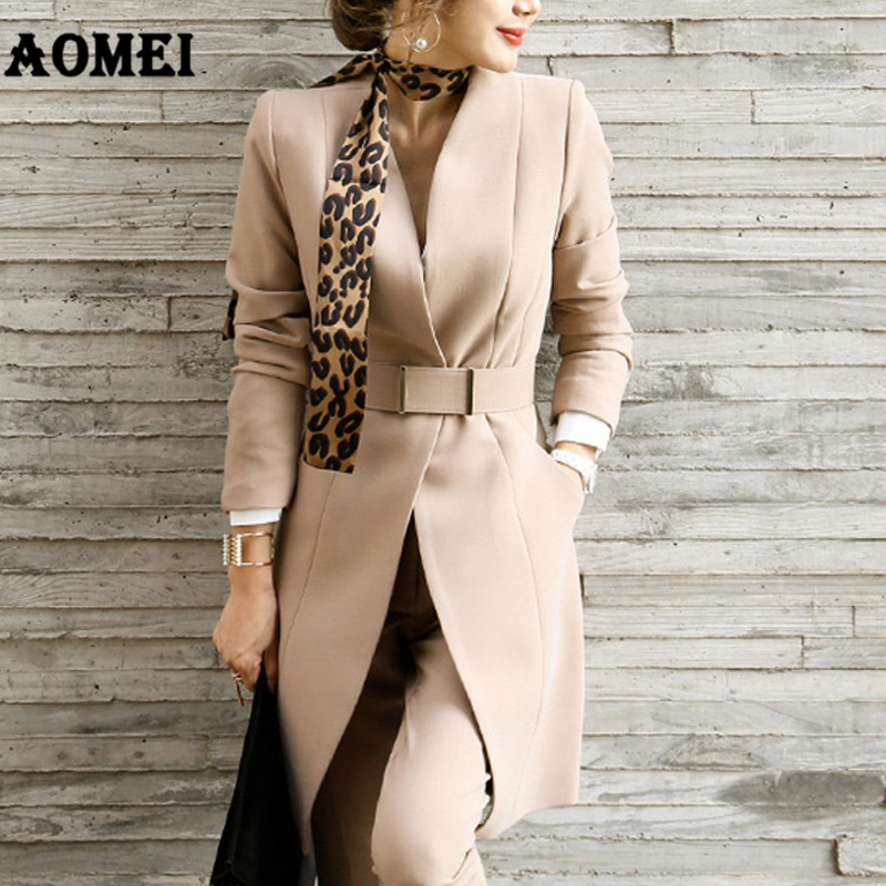 New Fashion Suit Women Classy Blazer Dress Workwear Office With Waist Belt V Neck Ladies Long Blaser Fall Winter Tops With Pants